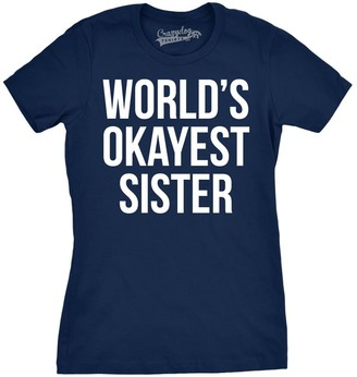 Crazy Dog T-shirts Womens World's Okayest Sister T Shirt Funny Sarcastic Siblings Tee for Ladies (Navy) - L