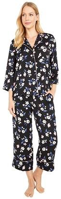 Kate Spade Charmeuse Notch Collar Cropped PJ Set (Bouquet) Women's Pajama Sets