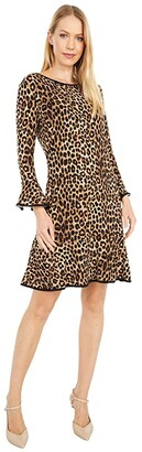 MICHAEL Michael Kors Cheetah Flounce Dress (Dark Camel) Women's Dress