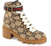 Gucci Trip GG Monogram Wool Combat Boot