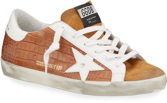 Golden Goose Superstar Mock-Croc Court Sneakers
