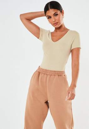 Missguided Sand V Neck Fitted T Shirt