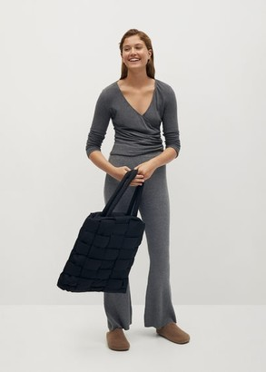 MANGO Wrapped knit t-shirt medium heather grey - S - Women