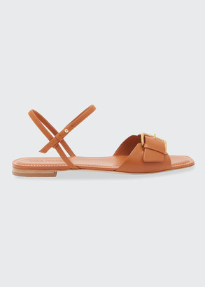 Ulla Johnson Sofia Leather Buckle Flat Sandals