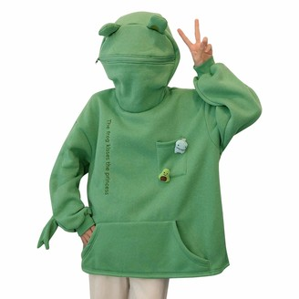 Madger Funny Frog Hoodie Cute Kawaii Animal Sweatshirt Zip Up Long Sleeve Pullover High Collar Couple Top with Large Flap Pocket (Green M)