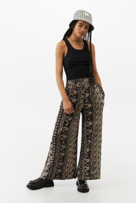 Urban Outfitters Floral Button Front Palazzo Trousers - Black XS at