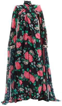 Richard Quinn Rose Cape-sleeve Floral-print Chiffon Gown - Black Multi