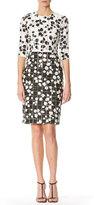 Carolina Herrera Leaf-Print Tweed Half-Sleeve Dress, White/Black