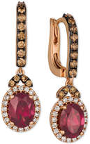 LeVian Le Vian® Raspberry Rhodolite® (2-3/4 ct. t.w.) & Diamond (3/4 ct. t.w.) Drop Earrings in 14k Rose Gold