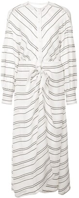 Proenza Schouler Crepe Striped Long Sleeve Dress