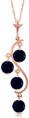 Overstock 14K Rose Gold Natural Sapphire Necklace Gemstone Genuine