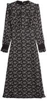Vilshenko Printed Silk Dress with Oversized Collar