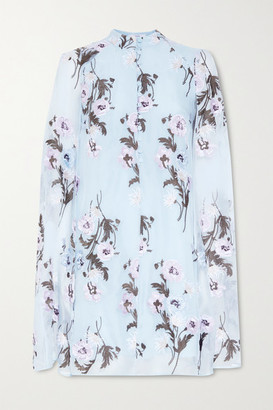Erdem Caelyn Cape-effect Embroidered Silk-organza Mini Dress - Sky blue
