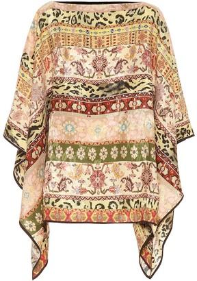 Etro Printed silk-blend poncho