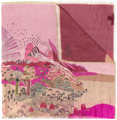 Valentino palm tree scene print scarf