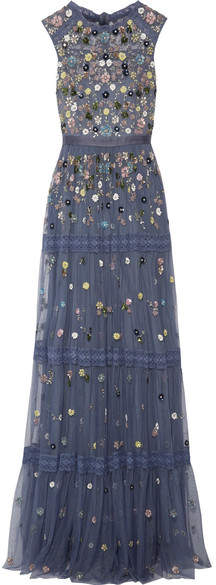 Needle & Thread Floweret Tiered Embellished Tulle Gown - Storm blue