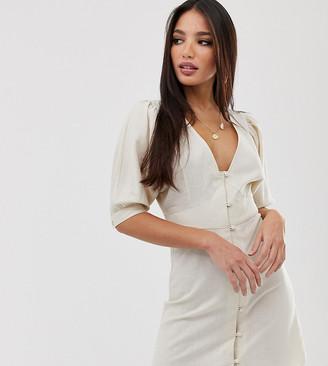Asos Tall DESIGN Tall casual button through mini skater dress with puff sleeve-Cream