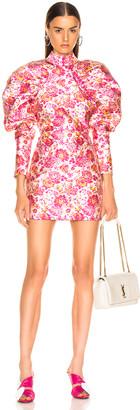 Rotate ROTATE Floral Puff Sleeve Mini Dress in Raspberry Rose Combo   FWRD