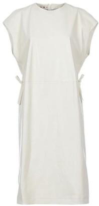 Cap-sleeved leather midi dress