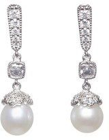 Crislu Platinum Plated 7mm Pearl & Cz Drop Earrings.