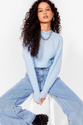 Nasty Gal Womens And Your Pointelle is Oversized Knit Sweater - Baby Blue