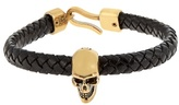 Alexander Mcqueen Skull And Woven-leather Bracelet