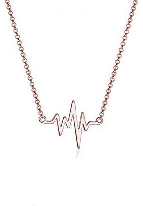 Elli Women 925 Sterling Silver Heartbeat Rose gold Plated Necklace of Length 45cm 0104810617_45