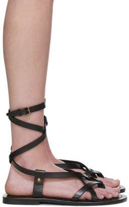 Saint Laurent Black Liya Cross Strap Sandals