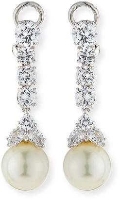 FANTASIA 6 TCW CZ & Simulated Pearl Long Drop Earrings