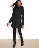 DKNY Hooded Wool-Blend Babydoll Coat