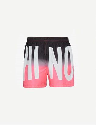Moschino Brand-print tie-and-dye swim shorts