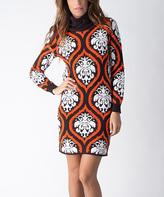 Yuka Paris Brown & Orange Brocade Sweater Dress