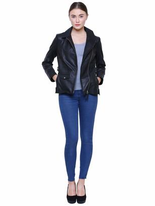 Albapelle Women's Leather Moto Biker Jacket