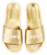 Schutz Shoes Happy Hour Leather Slide Sandal, Gold