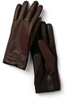 Classic Women's Gather Leather EZ Touch Gloves-Deep Scarlet