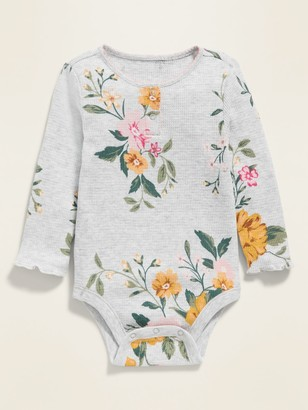 Old Navy Unisex Floral Thermal Henley Bodysuit for Baby