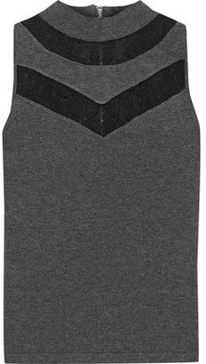 Milly Lace-trimmed Jersey Top