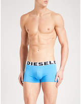 Diesel Blue Pack Of Three Logo-detail Slim-fit Stretch-cotton Trunks