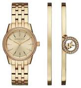 Michael Kors Mini Ritz Crystal and Stainless Steel Bracelet Watch Set