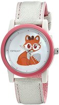 Sprout Women's ST/5525MPPK Swarovski Crystal Accented Fox Design Beige Cotton Strap Watch