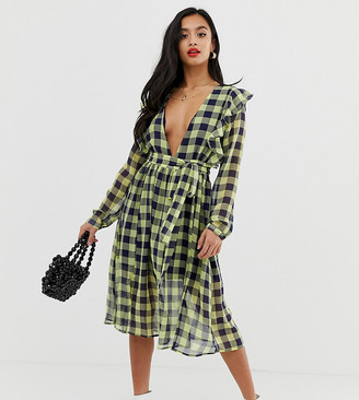 Glamorous Petite plunge front midi dress with tie waist in contrast check