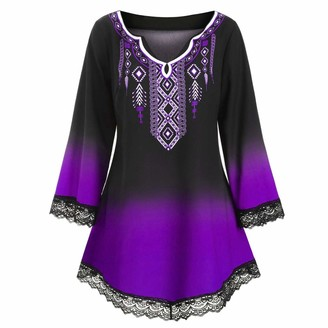 KPILP Womens Plus Size Loose fit Vintage Mini Dress Long Sleeve V Neck Oversized Baggy Retro T Shirt Dresses Ladies Casual Elegant Summer Ethnic Lace Party Dress(Purple 5XL)