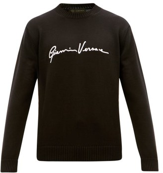 Versace Signature-embroidered Cotton Sweater - Black