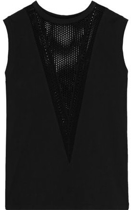Helmut Lang Open Knit-paneled Cotton-jersey Tank