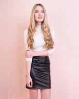 Missy Empire Felicity Black Faux Leather Midi Skirt