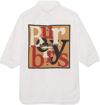 Burberry Logo and Archive Scarf Print Cotton Shirt Dress