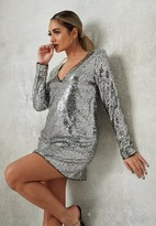 Missguided Petite Silver Sequin Shift Dress