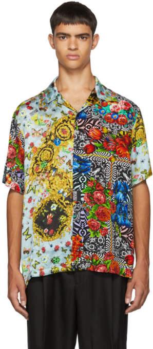 Versace Black Printed Short Sleeve Shirt