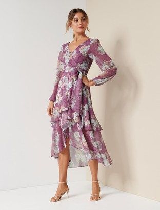 Forever New Fleur Petite Long Sleeve Wrap Dress - Lavender Bouquet - 4