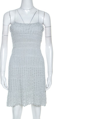 M Missoni Grey Stretch Knit Metallic Weave Detail Dress M